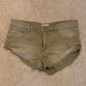 Free People Olive Denim Cut Off Shorts